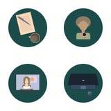 Ensemble d'icônes plates au sujet de media, icônes d'actualités Photographie stock libre de droits