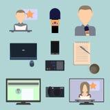 Ensemble d'icônes plates au sujet de media, icônes d'actualités Images stock