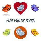 Ensemble d'icônes plates avec les oiseaux drôles Image libre de droits