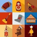 Ensemble d'icônes plates colorées de voyage de la Russie, russe illustration de vecteur