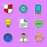 Ensemble d'icônes plates colorées pour des sites Web et des applications Photos libres de droits