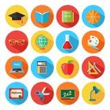 Ensemble d'icônes plates d'école et d'éducation réglées Photo libre de droits