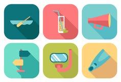 Ensemble d'icônes plates d'été Illustration de Vecteur
