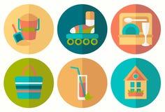 Ensemble d'icônes plates d'été avec la demi ombre Illustration Libre de Droits