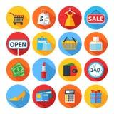 Ensemble d'icônes plates d'achats Images libres de droits