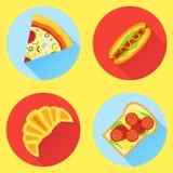 Ensemble d'icônes plates d'aliments de préparation rapide Pizza, hot-dog, croissant et sandwich Images libres de droits