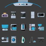 Ensemble d'icônes plates d'appareils électroménagers illustration libre de droits