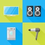 Ensemble d'icônes plates d'appareils ménagers Télévision, haut-parleurs, machine à laver et hairdryer illustration stock