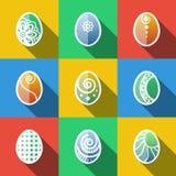 Ensemble d'icônes plates d'oeufs de pâques Photos libres de droits