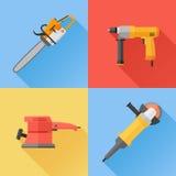 Ensemble d'icônes plates d'outils électriques de puissance Photo libre de droits