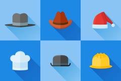 Ensemble d'icônes plates de chapeaux avec la longue ombre Photos libres de droits