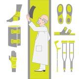 Ensemble d'icônes plates de chirurgie et d'orthopédie Photo stock