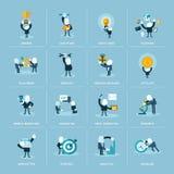 Ensemble d'icônes plates de concept de construction pour des affaires Image stock
