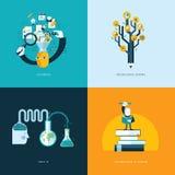 Ensemble d'icônes plates de concept de construction pour l'éducation Images libres de droits