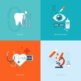 Ensemble d'icônes plates de concept de construction pour la médecine Images stock