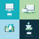 Ensemble d'icônes plates de concept de construction pour le livre en ligne Photographie stock libre de droits