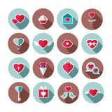 Ensemble d'icônes plates de jour de valentines Image libre de droits