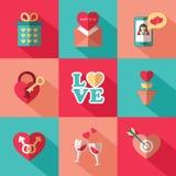 Ensemble d'icônes plates de jour de valentines Images libres de droits