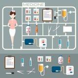 Ensemble d'icônes plates de médecine Photos stock