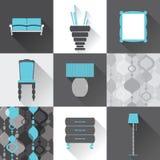 Ensemble d'icônes plates de meubles Photo stock