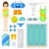 Ensemble d'icônes plates de natation Images stock