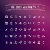 Ensemble d'icônes plates de Noël Photos libres de droits