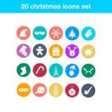 Ensemble d'icônes plates de Noël Image stock
