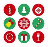 Ensemble d'icônes plates de Noël et de nouvelle année Photos libres de droits