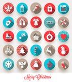 Ensemble d'icônes plates de Noël Photos stock