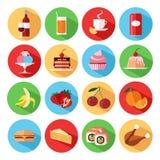 Ensemble d'icônes plates de nourriture et de boissons réglées Photographie stock