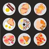 Ensemble d'icônes plates de petit déjeuner image stock