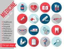 Ensemble d'icônes plates de soins de santé médicaux Photo stock
