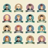 Ensemble d'icônes plates de style de personnes colorées de profession Photo stock