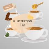 Ensemble d'icônes plates de thé de vecteur Photographie stock libre de droits