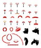 Ensemble d'icônes plates de viande et de saucisse de vecteur Photographie stock