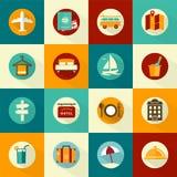 Ensemble d'icônes plates de voyage de style Photographie stock libre de droits
