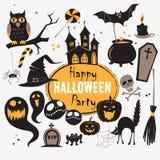 Ensemble d'icônes plates heureuses de Halloween de vintage Album à Halloween illustration de vecteur