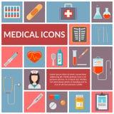 Ensemble d'icônes plates médicales de conception Image libre de droits