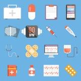 Ensemble d'icônes plates médicales de vecteur de conception Photos stock