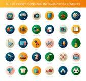 Ensemble d'icônes plates modernes de passe-temps de conception et Photo stock