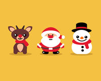Ensemble d'icônes pour célébrer le beige de Santa Reindeer de bonhomme de neige de Noël Photographie stock libre de droits