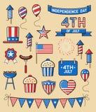 Ensemble d'icônes pour le Jour de la Déclaration d'Indépendance Photo libre de droits