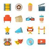 Ensemble d'icônes réalistes de cinéma Photographie stock