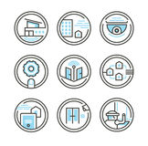 Ensemble d'icônes résidentielles de sécurité Image stock