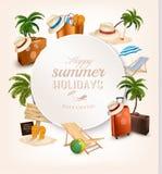 Ensemble d'icônes relatives de vacances Photos stock