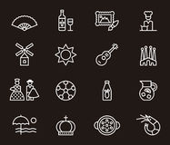Ensemble d'icônes relatives espagnoles Image stock