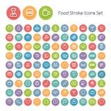 Ensemble d'icônes rondes de nourriture de course Image libre de droits