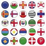 Ensemble d'icônes rondes européennes de drapeau Photos libres de droits