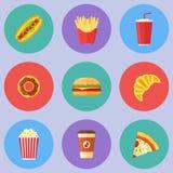 Ensemble d'icônes rondes plates d'aliments de préparation rapide Image stock