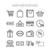 Ensemble d'icônes simples pour la boutique, marché, banque et illustration de vecteur